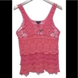 Rue 21 Pinks crocheted lace sweater
